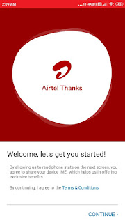 Airtel App home screen
