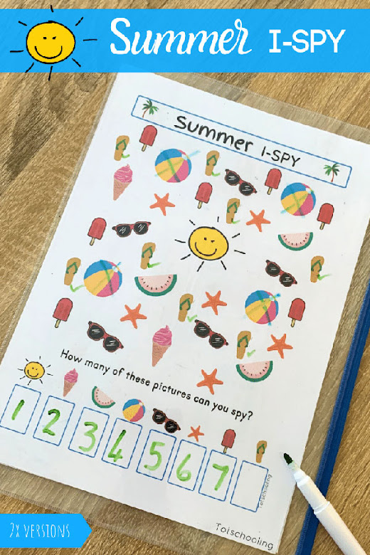 FREE printable no-prep Summer theme I spy game for preschoolers and kindergarten kids to learn while having fun.