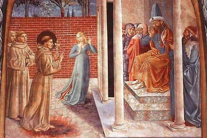 São Francisco, a mulher perdida e o sultão, detalhe, Benozzo Gozzoli (1421 - 1497), capela superior de Assis.