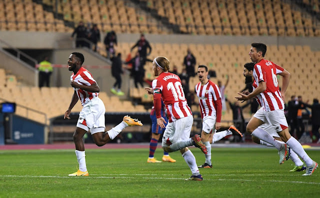 Inaki Williams stars in Athletic Super Copa win as Messi sees red.