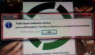 e-Faktur Error Tidak Bisa Dibuka, tidak dapat melakukan backup