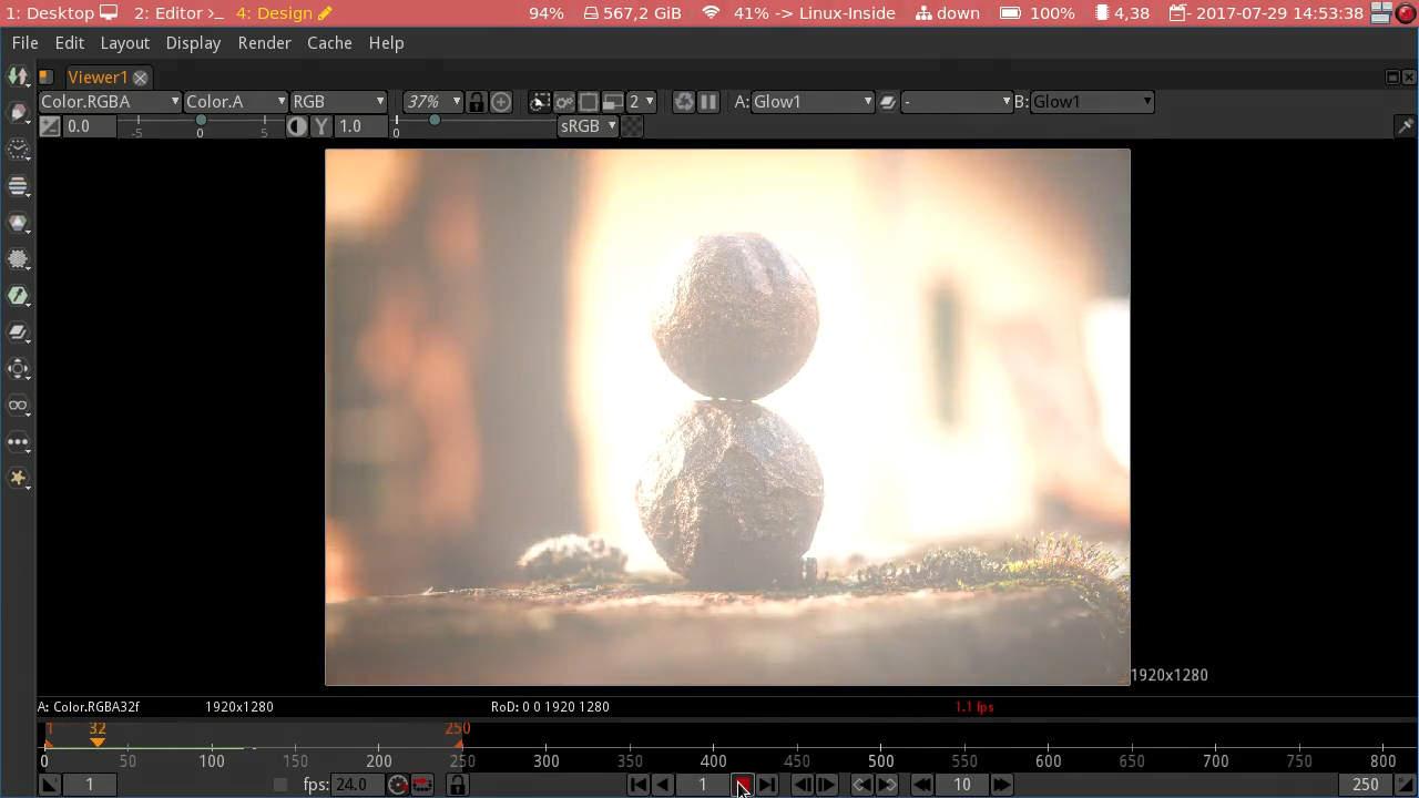 Animação com o efeito Glow aplicado
