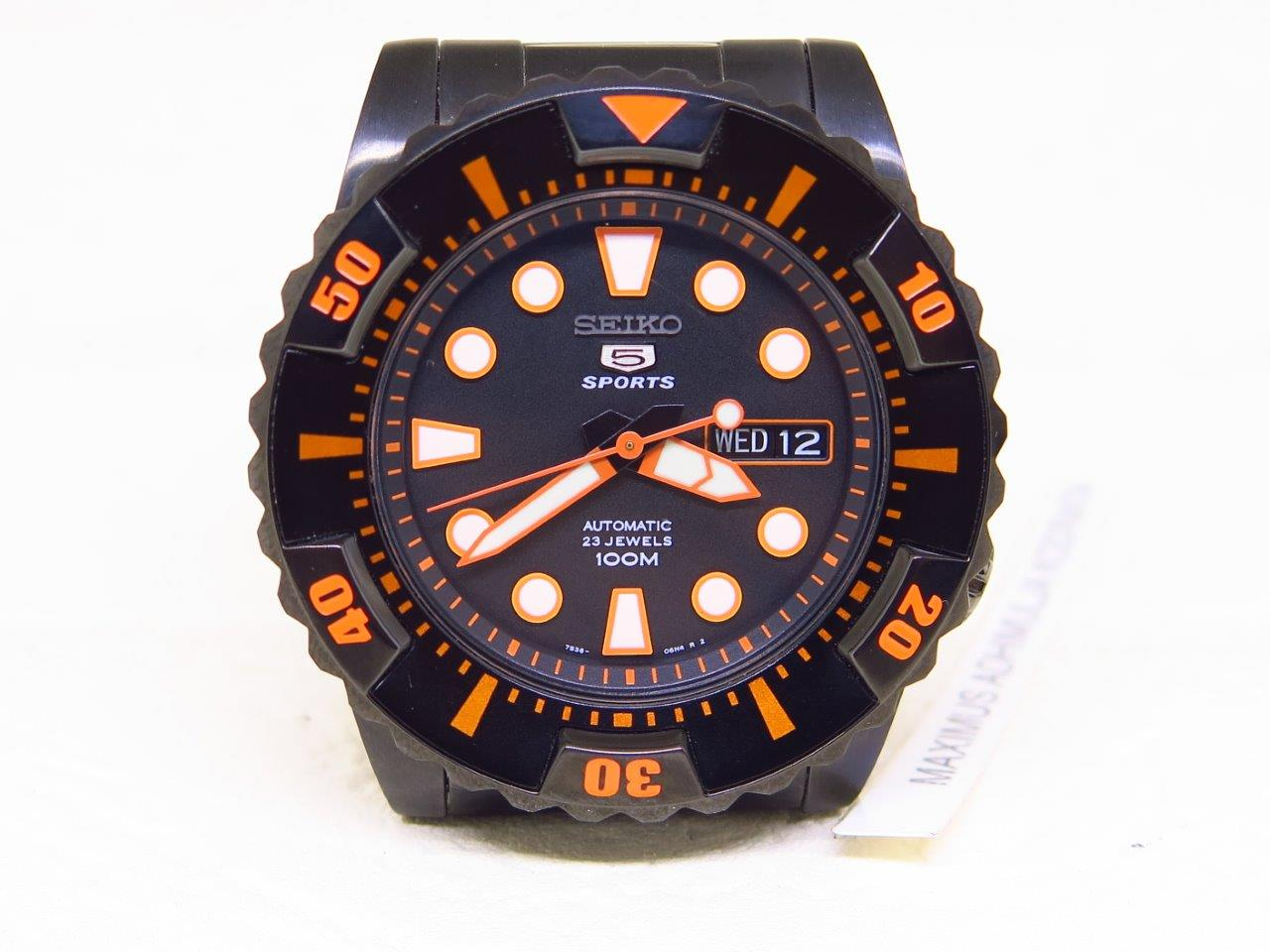 SEIKO 5 SPORTS BLACK CASE ORANGE INDEXES - SEIKO SNZJ21K1 - AUTOMATIC 7S36