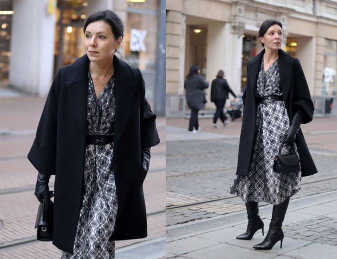 jaka sukienka do czarnego płaszcza