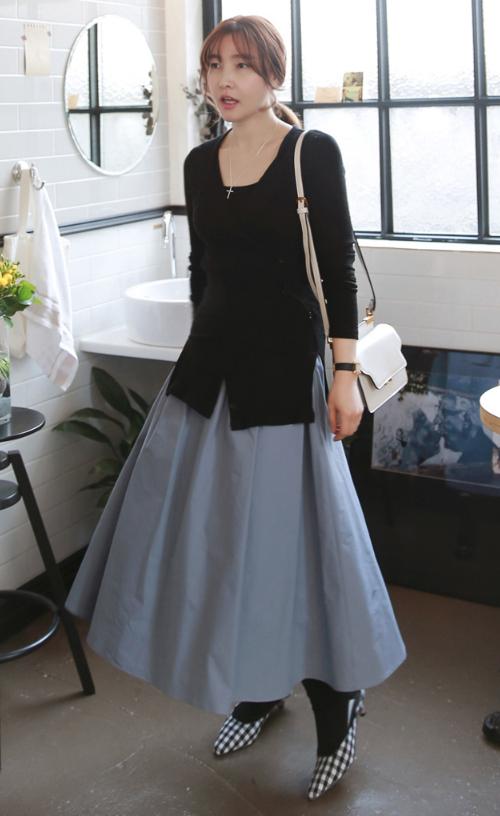 Semi-Elastic Waist Midaxi Skirt
