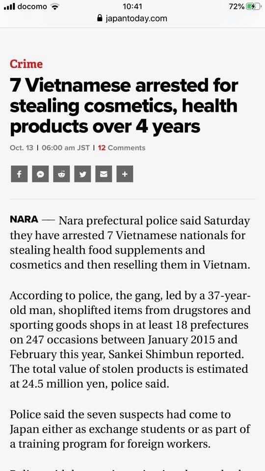 Cảnh sát Nhật Bản bắt 7 người Việt ăn cắp Mỹ Phẩm và thực phẩm chức năng