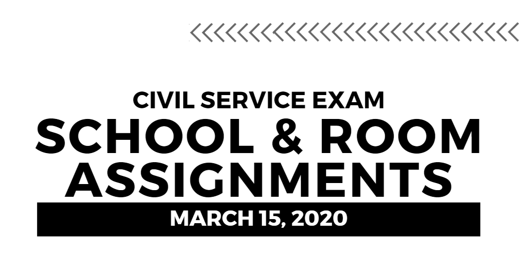 March 2020 Civil Service Exam (CSE-PPT) School and Room