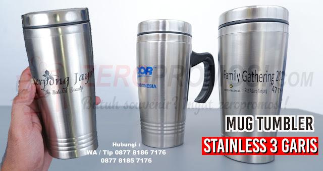Jual Souvenir Mug tumbler stainless 3 garis, Mug Stainless 3 Garis 450 ML, Mug CT-47, Mug Stainless Ulir 3 garis, Tumbler Stainless Tiga Garis, Souvenir Mug Stainless 3 Garis 450Ml