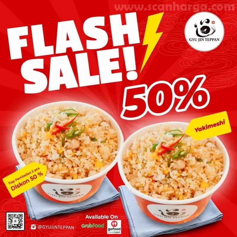 Promo Gyu Jin Teppan Flash Sale 50% Untuk Menu Tori Teppan & Yakimeshi via GoFood dan GrabFood*