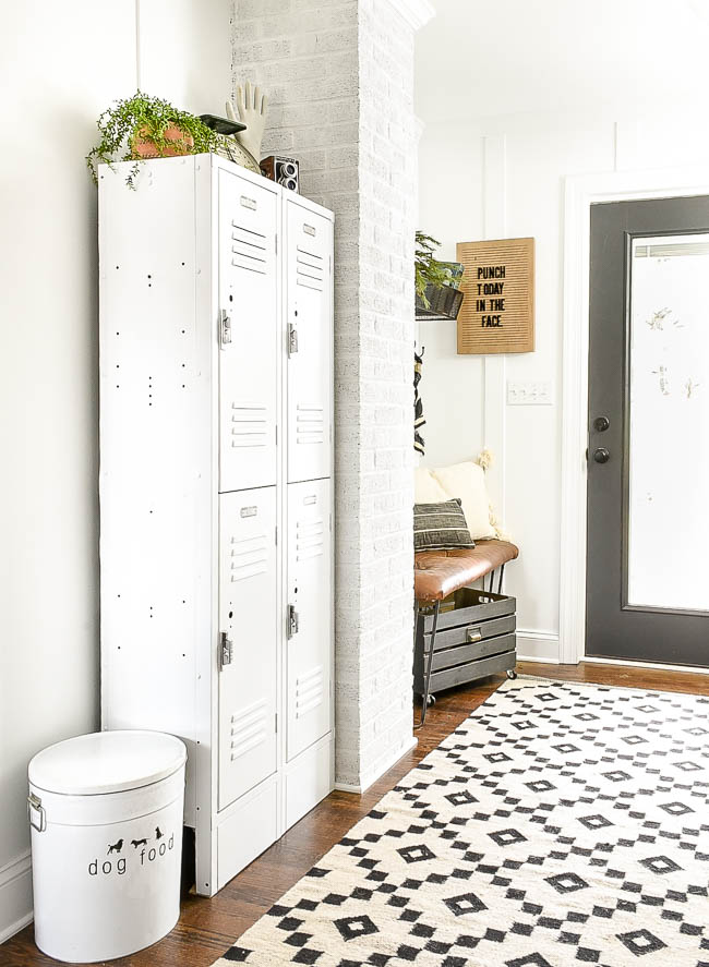 industrial vintage modern mudroom