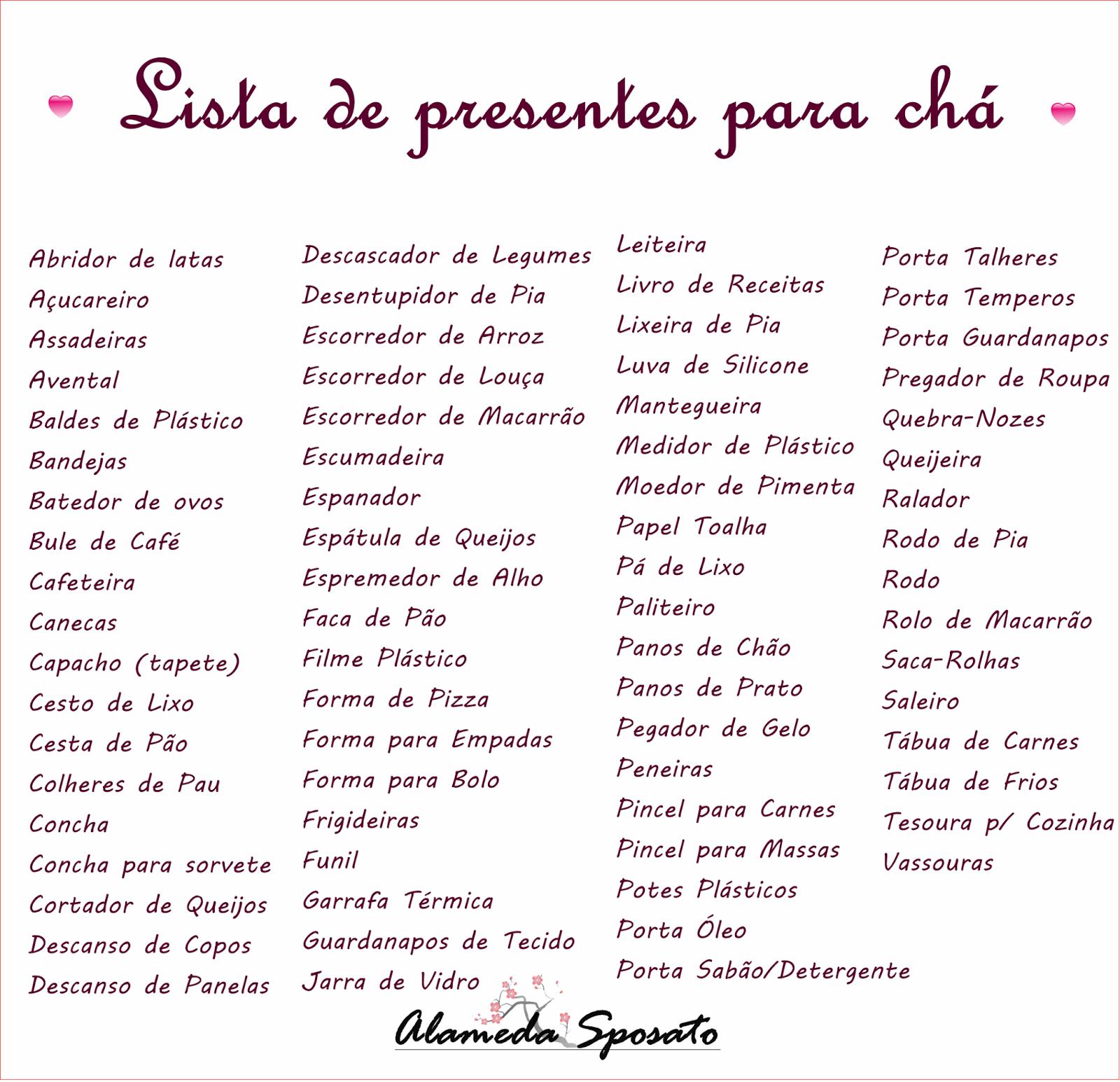 Famosos Lista De Presentes Para Ch De Cozinha Fp73 Ivango