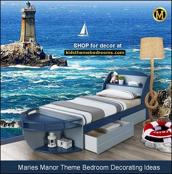 boat bed nautical bedroom ideas nautical mural LIGHTHOUSE MURAL NAUTICAL LIGHTING
