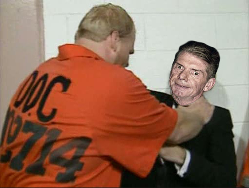 Nailz strangling Vince McMahon like it's once happened in real-life.  PYGear.com