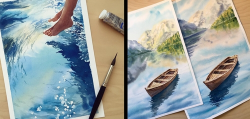 00-Lulebedeva-Любовь-Realistic-Paintings-Depicting-Water-Reflections-www-designstack-co
