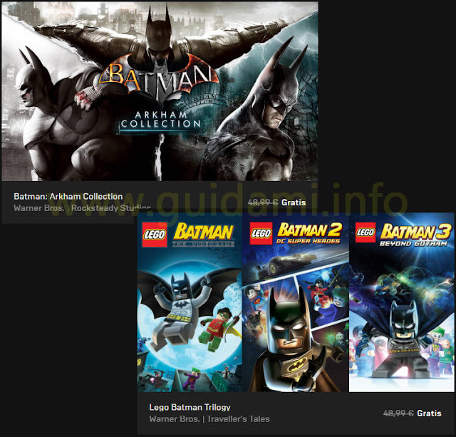 Epic Games Store locandine batman free week Batman Arkham Collection e Lego Batman Trilogy