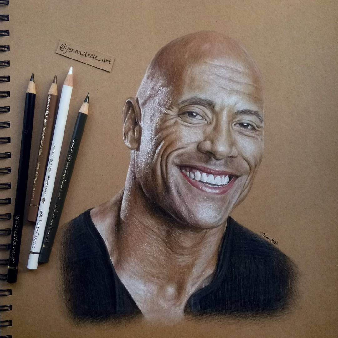 01-Dwayne-Johnson-Jenna-Steele-Collection-of-Pencil-Drawings-www-designstack-co