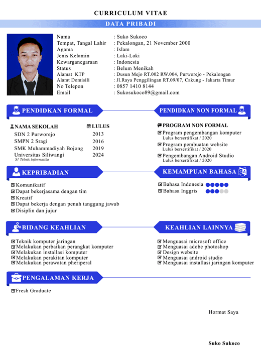 Kumpulan Contoh CV/Curriculum Vitae/Daftar Riwayat Hidup Yang Menarik Untuk Lamaran Kerja
