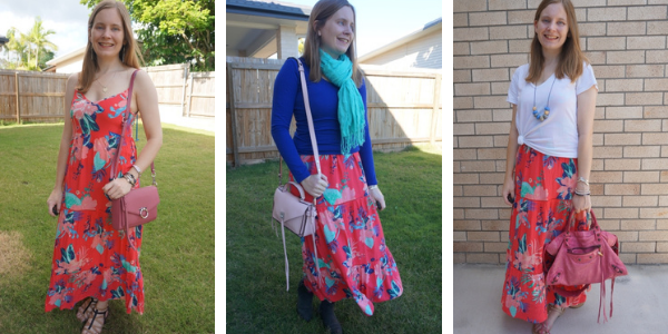 3 different shades of pink bags you can wear with a coral printed tiered maxi dress awayfromtheblue blog