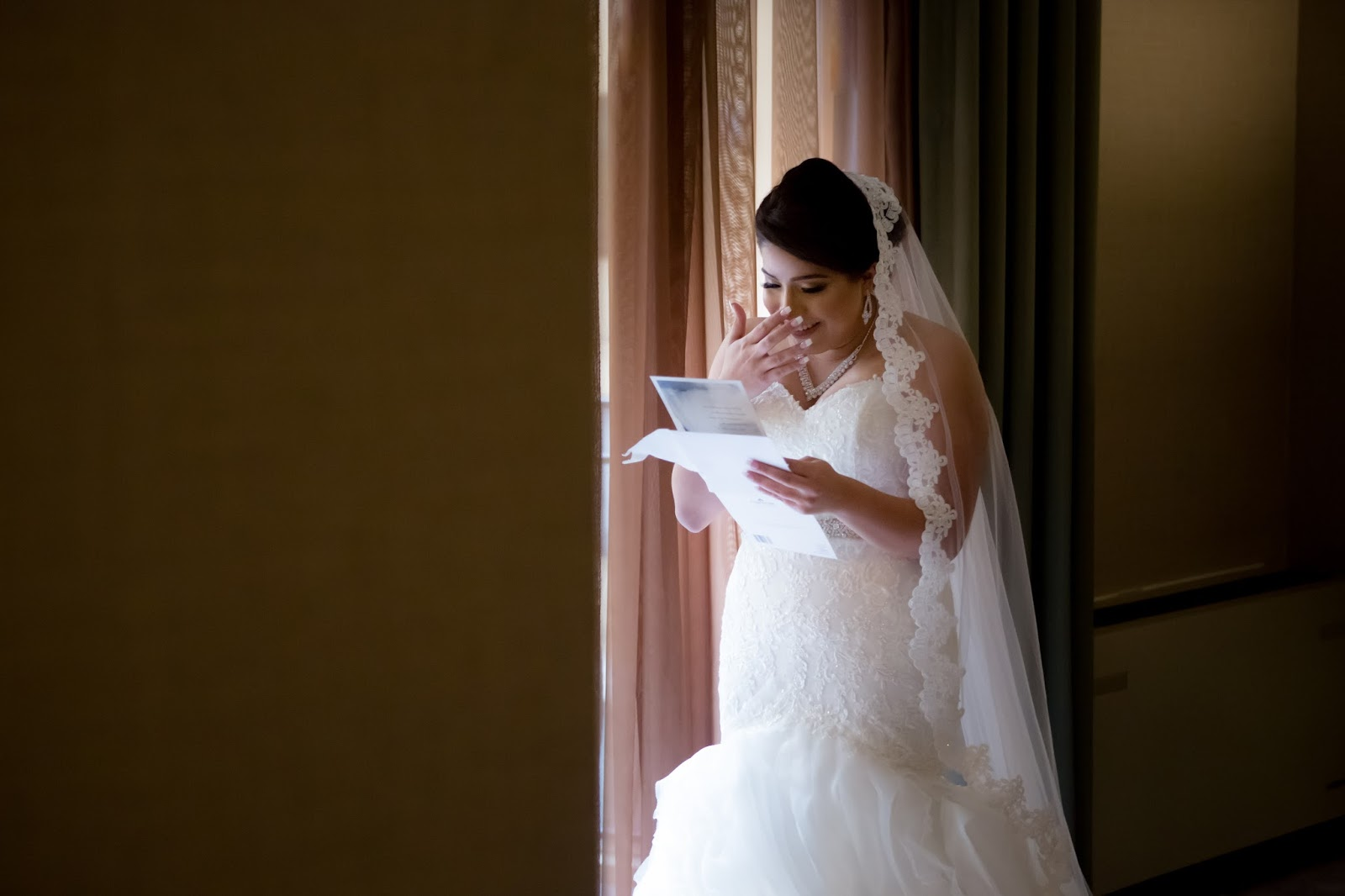 Bride Reads Loving Letter from Husband