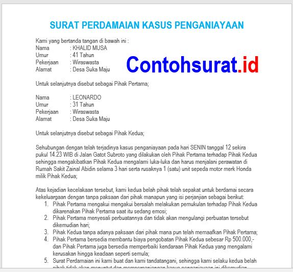 Contoh Surat Perdamaian Kasus Penganiayaan (Korban luka-luka dan rusaknya barang)