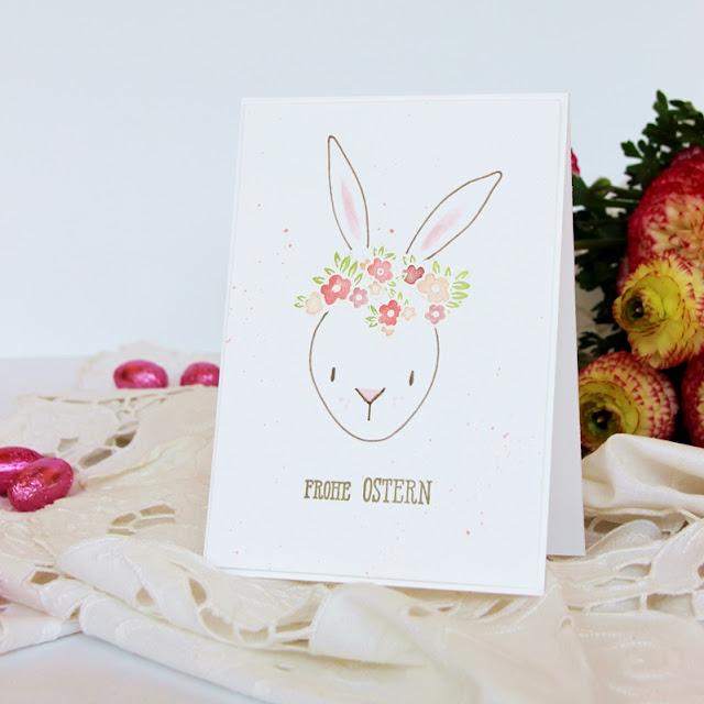 Anleitung Karte Hase mit Blumenkranz