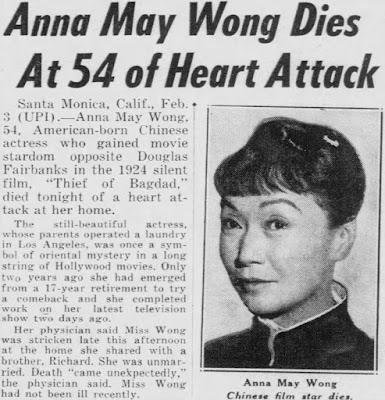 Anna May Wong Dead