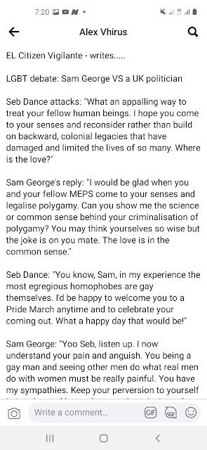 Sam George Blasts uk politician