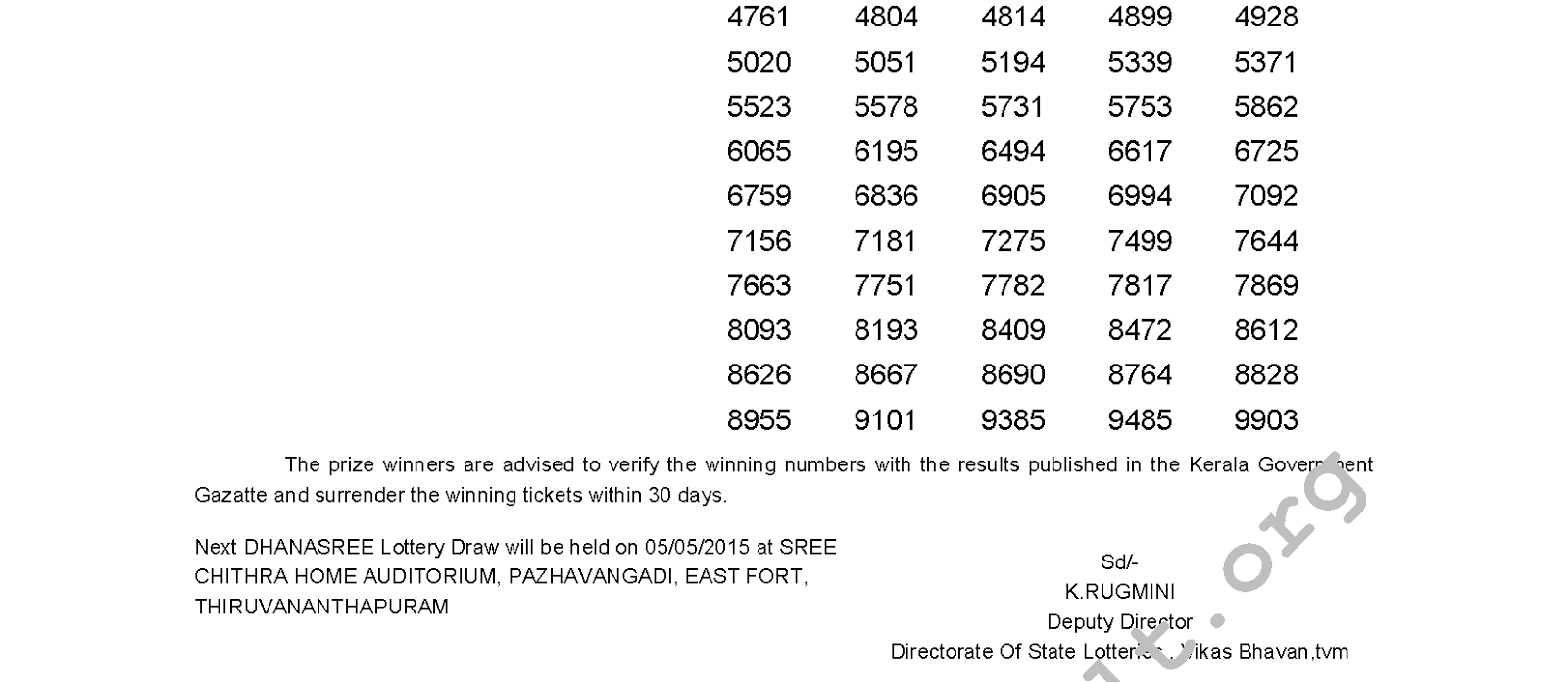 DHANASREE Lottery DS 183 Result 28-4-2015