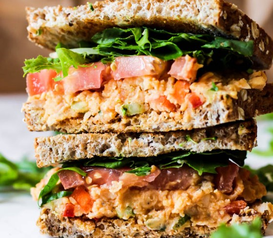 Vegan Buffalo Chickpea Salad Sandwich #vegetables #lunch