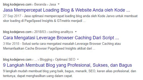 Contoh tampilan breadcrumb di mesin pencari Google