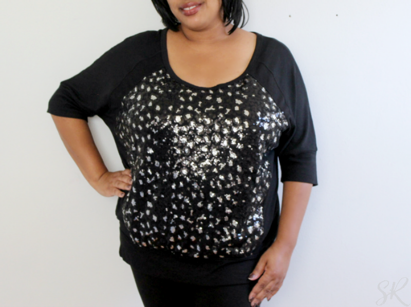 black shirt with silver sequins