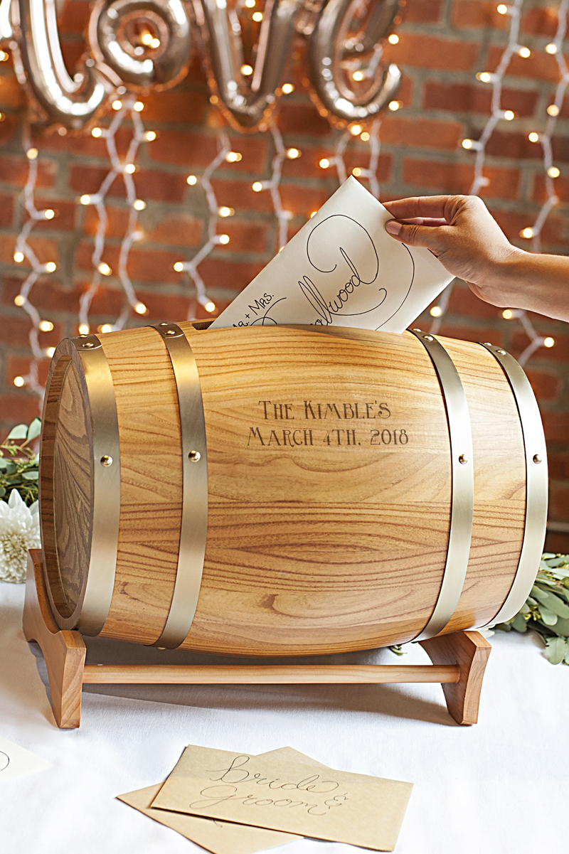 Wine Whisky Barrel Card Box