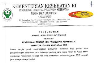 Penerimaan Tenaga Non PNS RSUP H.Adam Malik Medan Semester 1 Tahun Anggaran 2017