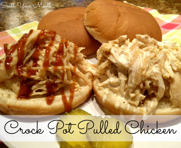 Crock Pot Pulled Chicken | Pulled chicken made in a slow cooker plus a recipe for Big Bob Gibson's White Sauce, a white barbeque sauce popular in Alabama.
