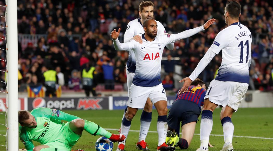 Image result for Barcelona 1-1 Tottenham lucas moura