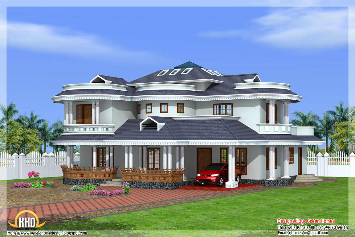 Beautiful 4 bedroom kerala home exterior kerala home for Home plans designs kerala