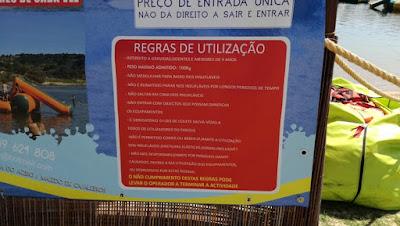 Aquaparque do Azibo - regras de utilização dos insufláveis