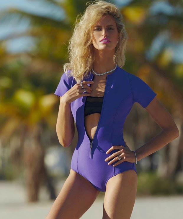 Karolina Kurova shows off swim looks for Harper's Bazaar Spain June 2015