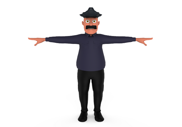 Police Cartoon 3d Model Free Download,Obj,Maya,Low Poly
