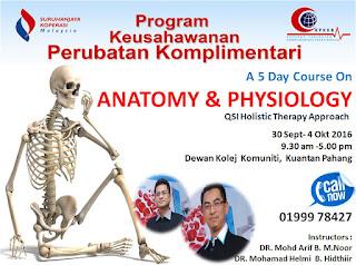 Kursus Anatomi dan Fisiologi di Kolej Komuniti Kuantan pada 30 September 2016 hingga 4 Oktober 2016