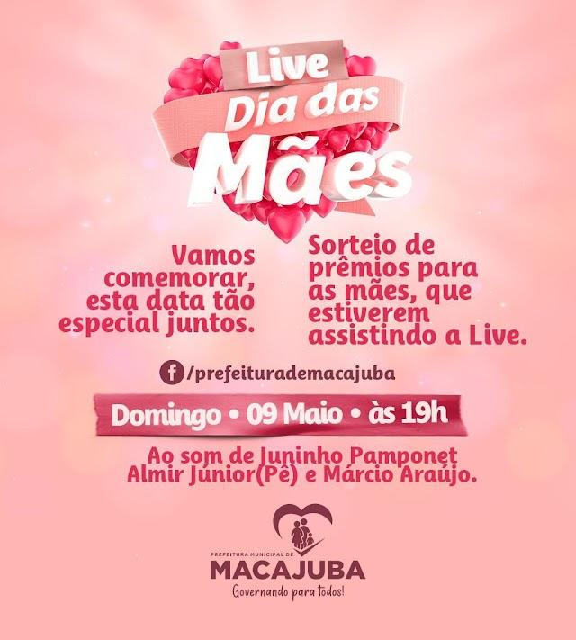 Prefeitura de Macajuba realizará live em comemoração ao Dia das Mães neste domingo.