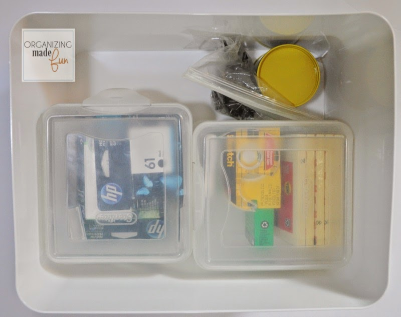 Office Supplies organized inside an Ikea containers on open shelving :: OrganizingMadeFun.com