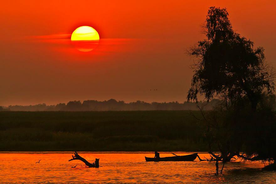 Gün batımında Tuna nehri