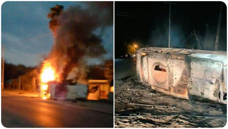 Sicarios del Cártel del Noreste emboscan a Policías quienes repelieron la agresión les quemaron un camión monstruo y los hicieron correr
