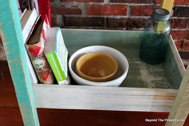 old drawers, repurposed, kitchen island, storage, cookbooks, barnwood, http://bec4-beyondthepicketfence.blogspot.com/2016/02/old-drawer-work-station.html