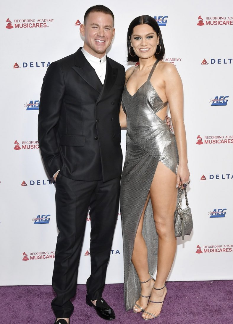 Jessie J flashes knockout legs in busty split gown as she and Channing Tatum celebrate reunion by making red carpet DEBUT at Aerosmith tribute