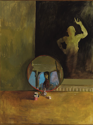 Self Portrait with Small Round Mirror (1990), Sarah Raphael