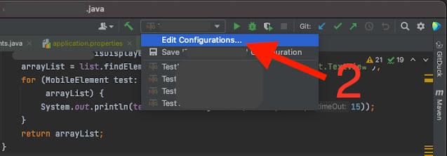 Click en Edit Configurations.