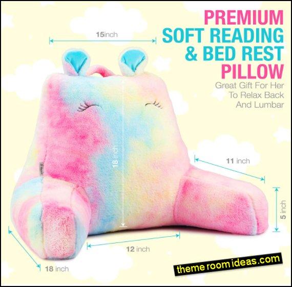 Rainbow Faux Fur Reading & Bed Rest Pillow
