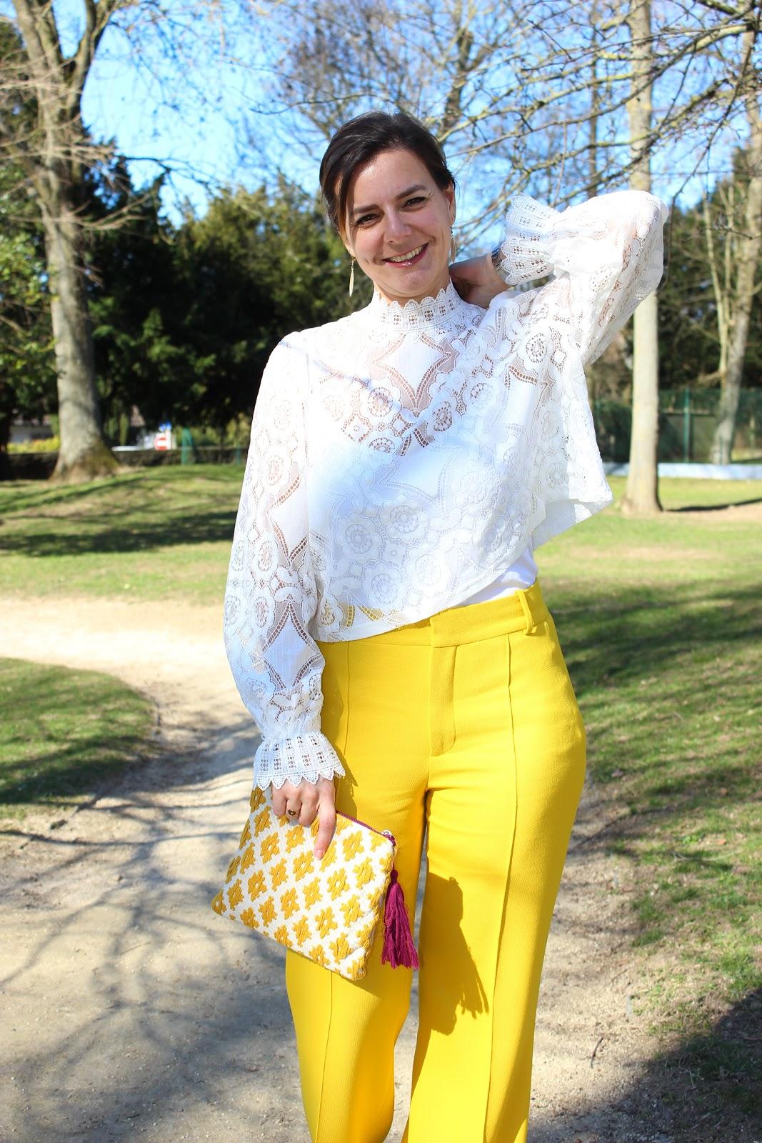 pantalon jaune zara, blouse zara, les petites bulles de ma vie